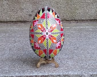Ornate goose egg pysanka