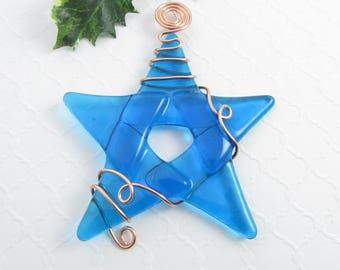 Christmas Star Ornament - Turquoise Blue Glass Star Ornament - Handmade Fused Glass Star Christmas Ornament - Fused Glass Star Suncatcher