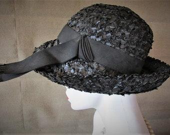 Vintage 1960's Hat Black Straw Fedora Dress Hat