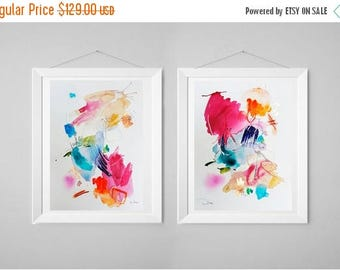 15% OFF Abstract painting, acrylic painting, watercolor original, wall art, diptych painting, gift for her, home decor, modern painting, col