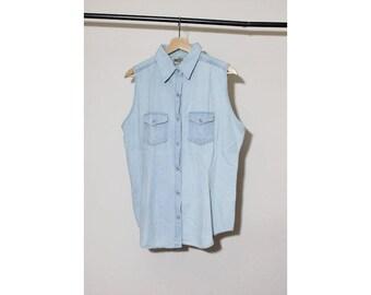 NOS 1990s Chambray Sleeveless Button Down Shirt