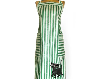 Vintage Polished Cotton Bib Apron in Kelly Green and White Stripes with Black Kitty Appliqué/ Pristine