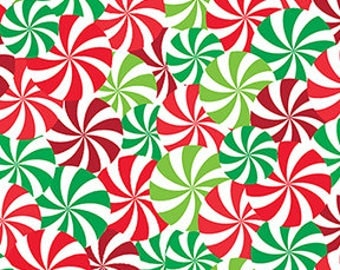 Christmas Candy Swirls Red/ Green Color,  Winter Novelties Collection by Greta Lynn, Benartex Cotton Quilting Fabric