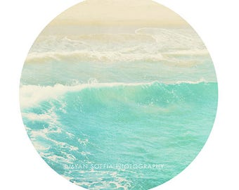 modern beach art, ocean wave photograph, crystal ice blue, aquamarine sea blue, dorm decor, Hermosa beach California photo