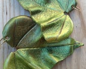 On Sale Large Green Tropical Leather Leaf Earrings