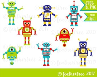 Digital Clipart - Cute Robots - red, blue, green, yellow - 300 dpi PNG and JPEG files