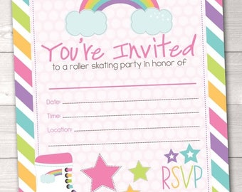 35% OFF SALE Fill In Roller Skating Party Invitations Printable Girls Birthday Party Painting Invitation INSTANT Download