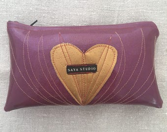 Heart bag in purple and gold