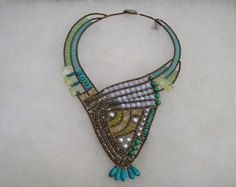 ON SALE SALE Ziio Egyptian Style Turquoise Pearl Blue Lace Semi Precious & Murano Glass Necklace