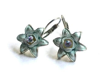 Vintage Pale Blue Flower Silver Drop Minimalist Leverback Earrings   Petite for Her Under 40 US Free Shipping