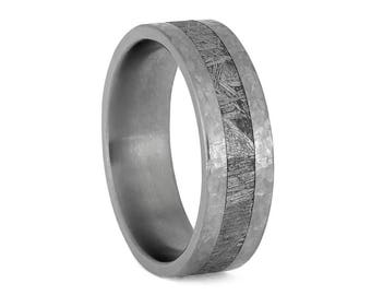 Hammered Titanium Wedding Band With Gibeon Meteorite, Masculine Space Ring