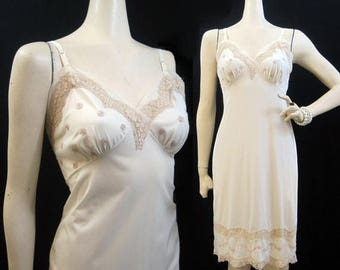 REDUCED Vintage 50s 60s Full Slip Nude Buttercream Nylon and Nude Lace 34 Kayser