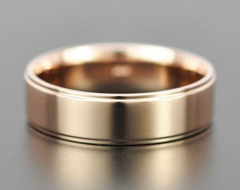 14K Rose Gold 6mm Modern Mens Wedding Band with Edge