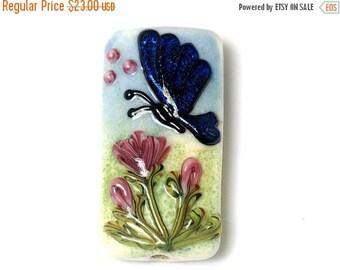 ON SALE 30% off Glass Lampwork Bead - Blue Sparkle Garden Butterfly Kalera Focal Bead 11835003