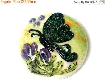 ON SALE 30% off Green Sparkle Garden Butterfly Lentil Focal Bead - Handmade Glass Lampwork Bead 11834902