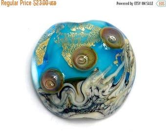 ON SALE 30% off Aqua Treasure Lentil Focal Bead -11819802 Handmade Glass Lampwork Bead
