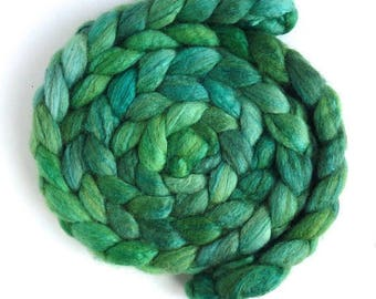 Blueface Leicester/ Tussah Silk Roving (Top) - Handpainted Spinning or Felting Fiber, Bright Green