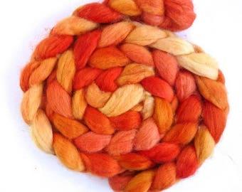 Tangerine Twist, Shetland Roving - Handpainted Spinning or Felting Fiber