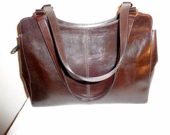 Monsac Original  larger size purse, handbag rich brown glazed Italian leather elegant satchel, top zip bag , tote N MINT vintage