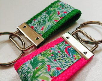 Green Jungle Lilly Ribbon Key FOB, Lilly Ribbon, Green Jungle Starbucks Hidden, Colorful Lilly Keychain, Hot Pink Keychain, Lilly Inspired