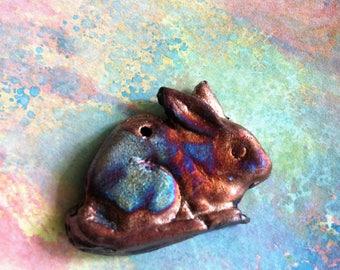 Wondrousstange Raku Rabbit Pendant Copper Blue Purple
