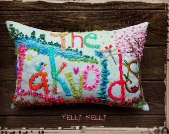 LARGE Deluxe Bohemian Embroidered Name Pillow Made To Order Any Colors YelliKelli
