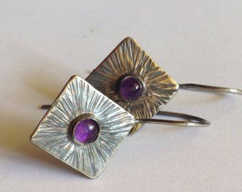Amethyst Earrings with Textured Sunburst Pattern - February Birthstone - 25th Anniversary Gift