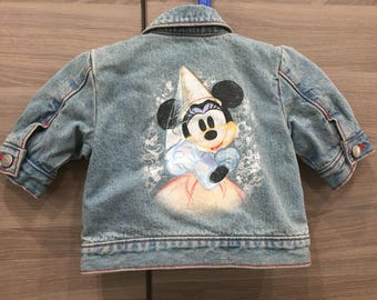 Disney Jean Jacket, Minnie Mouse Vintage Toddler Denim Jacket Vintage 90s Disney Kids Jacket Blue Red 2T Airbrushed Denim Princess Minnie S