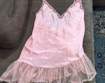 Plus size vintage lingere, 3XL romantic pink nightie vintage plus size lingerie pink teddy sexy nightgown Valentines Day vintage boudoir bbw