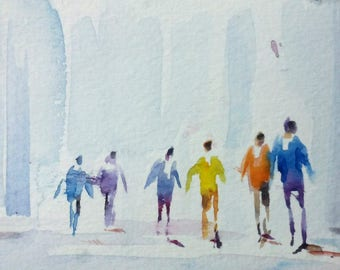original watercolor painting ACEO people figures  2.5x3.5 inches