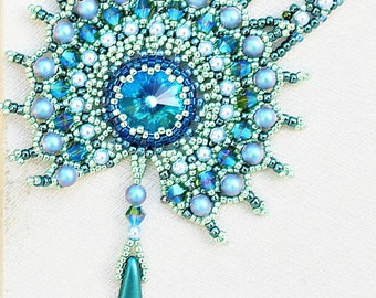 Crystal Statement Necklace  Blue Green Turquoise Jewelry Peacock Magic