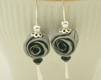Handmade Rose Earrings, Polymer Clay Gray Floral Earrings, Floral Jewelry,  Black and Gray Rose Earrings, Hand Forged Silver Ear Wires, Gift