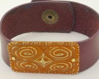 Trending Orange Leather Bracelet, Casual Leather Jewelry, Maroon and Orange Bracelet, Tangerine Boho Leather Bracelet, Gift for Her