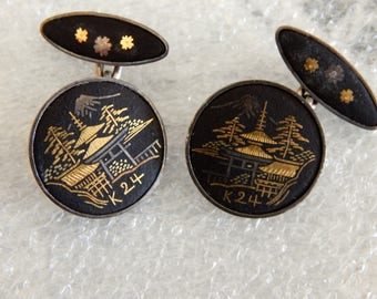 Men's Vintage Japanese Damascene Cufflinks - Pagoda - Sterling - 24K Gold Asian