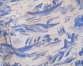 Vintage Fabric, French Fabric, Quilting & Patchwork Fabric, Sewing Fabric, Cotton Fabric, Chinoiserie Decor, Asiatique Style, Blue and White