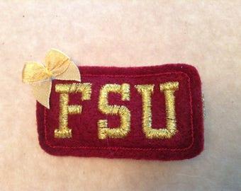 Garnet & Gold FSU Felt Hair Clip, Toddlers Hair Clippies, Girls Hair Bows, Football, Hair Bows, Florida State Seminoles  (Item 16-295)