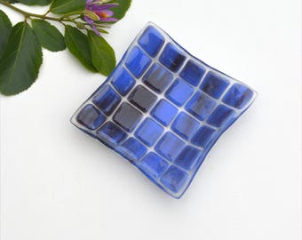 Small fused glass art plate, squares in blue ish purple