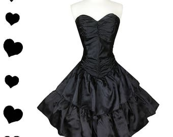 Vintage 80s Strapless Black Satin Prom Cocktail Party Dress S M Full Skirt Glam Prom Dance Queen Ruched Taffeta Tiers Small Medium