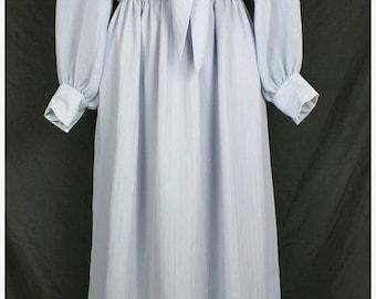 ON SALE Vintage Gray Silver Stripe  Dress Misses  S M 1970s
