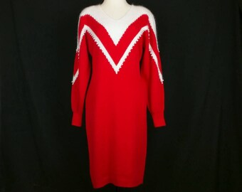 Vintage Sweater Dress Red White Faux Pearl Long Sleeve Christmas Misses L 80s Christina Grant