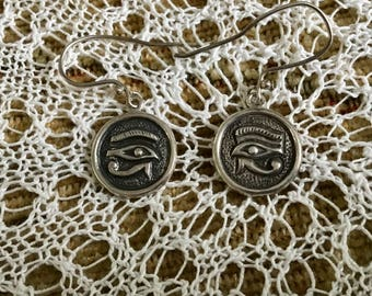 Vintage Sterling Eye of Horus Earrings well made, very good condition has hallmarks