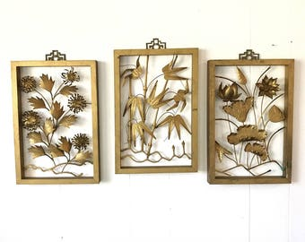 mid century brass wall hangings - metal wall sculpture - floral chinoiserie shadowbox - gold Hollywood Regency