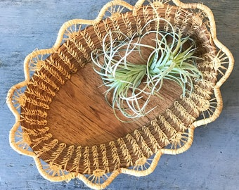 vintage oval reed basket - scalloped rim - woven table centerpiece - shallow bowl basket - boho fall decor