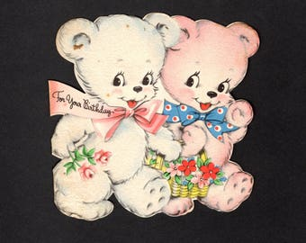 Book piece - Vintage Birthday Greeting Card - Flocked Bears