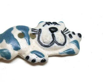 """Happy  CAT Button, Handmade ceramic Blue striped kitty with smile, 1 5/8"""""""