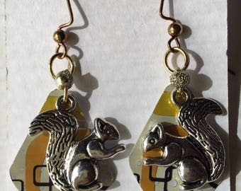 Squirrel recycled can earrings