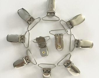 "10 Suspender Clips - Pacifier Clips - 1"" Suspender Clips with round plastic insert - Hardware for Mitten Clips - Suspender Clips Canada"