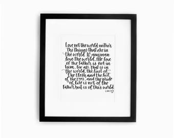 Hand Lettered Art Print Bible Scripture Gorgeous Home Decor Instant Download
