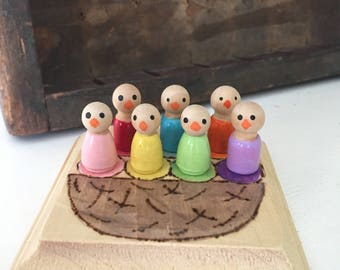 Baby birds in a nest color match waldorf peg doll game montessori