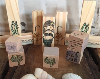 Wooden mermaid under the sea storytelling blocks pretend montessori waldorf inspired